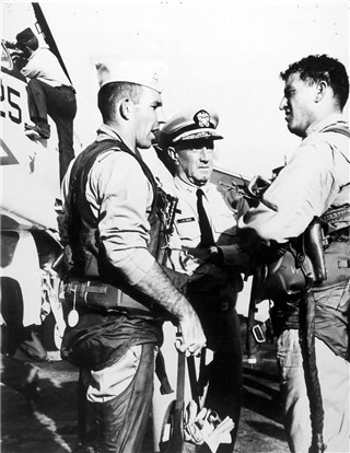 Click photo to enlarge. L-R LT Jerry Coffee, Rear Admiral John Carson, LTjg Art Day