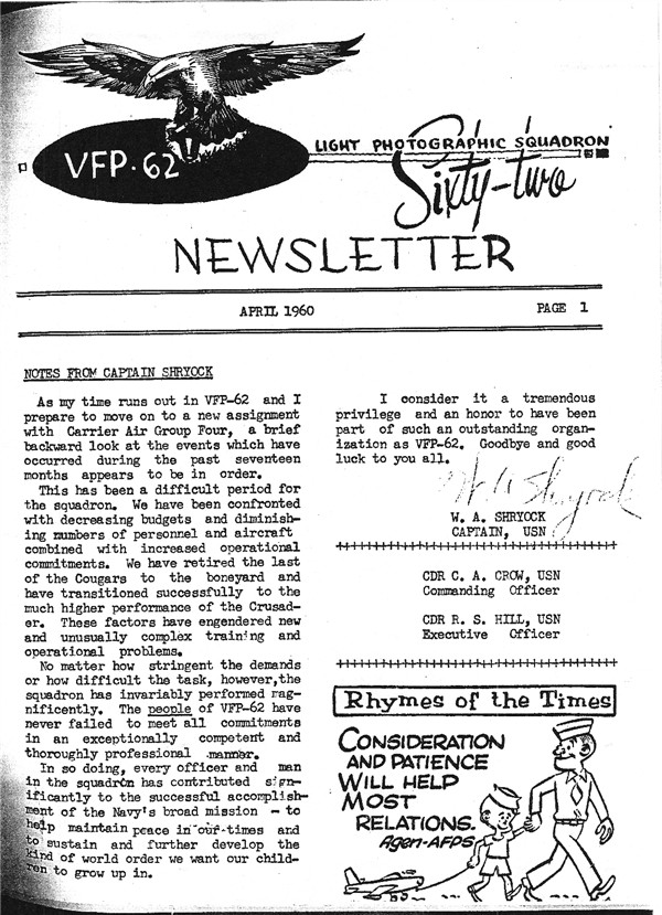 April 1960 Newsletter